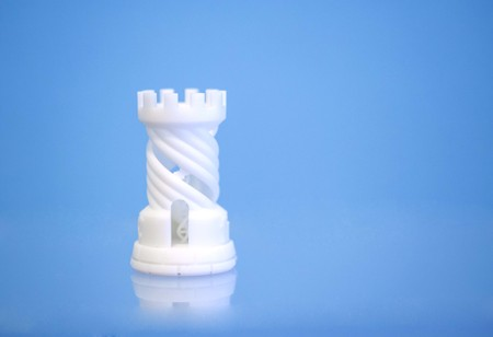 One object photopolymer printed on 3d printer. Stereolithography 3D printer, technology liquid photopolymerization UV light. Progressive modern additive technology. Concept 4.0 industrial revolution Stock Photo