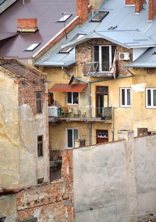 slums in the city of Lvov, Ukraine January 11, 2014 Stock Photo
