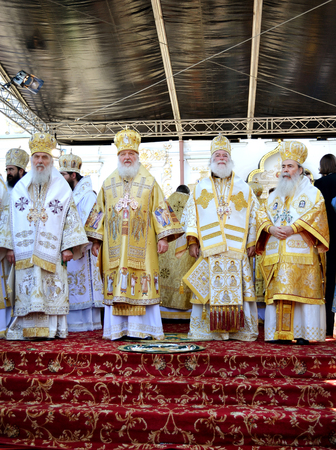 Kiev, Ukraine, celebration liturgy in honor of the baptism of Rus in Kiev Pechersk Lavra - 27 July 2013 -: Patriarch Kirill and the other bishops on the liturgy in Kiev, in the Kiev Pechersk Lavra. They stand at the pulpit Stok Fotoğraf - 97670110