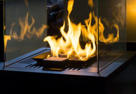 Modern bio fireplot fireplace on ethanol gas. Smart ecological alternative technologies. Contemporary biofuel on ethanol close-up. Energy saving innovation. Interior inside a house