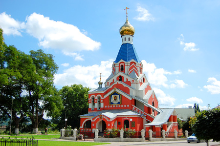Red Church with an icon of Jesus Christ with many arches, ancient style