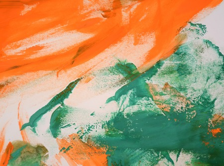 Abstract background of smears of orange and green on a white background