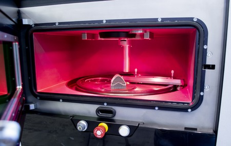 Object printed from metal powder on metal 3d printer, working chamber. Laser sintering machine for metal. Concept progressive additive DMLS, SLM, SLS 3d printing technology. 4.0 industrial revolution.