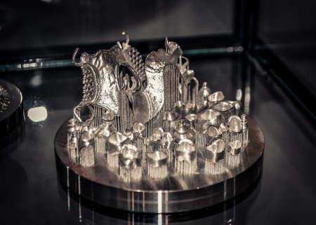 Object printed on metal 3d printer close-up. Object printed in laser sintering machine. Modern 3D printer printing from metal powder. Concept progressive additive DMLS, SLM, SLS