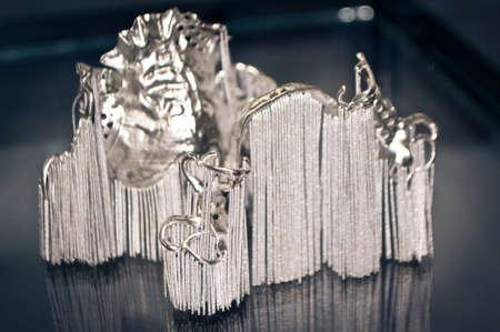 Object printed on metal 3d printer close-up. Object printed in laser sintering machine. Modern 3D printer printing from metal powder. Concept progressive additive DMLS, SLM, SLS 3d printing technology Standard-Bild