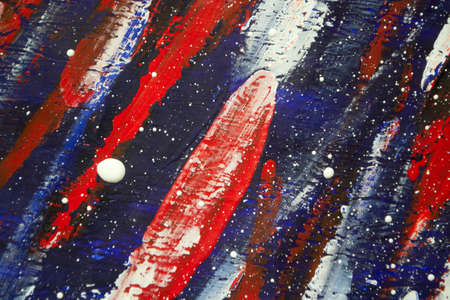 Art creative canvas with drawn lines of blue, red white, red paint. Standard-Bild - 166289526
