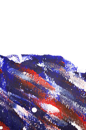Multicolored brush strokes on white paper with one hand isolated.