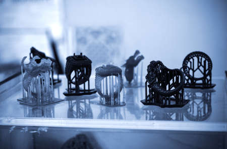 Objects photopolymer printed on a 3d printer.