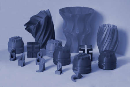 Models printed by 3d printer. Colorful objects printed 3d printer Standard-Bild