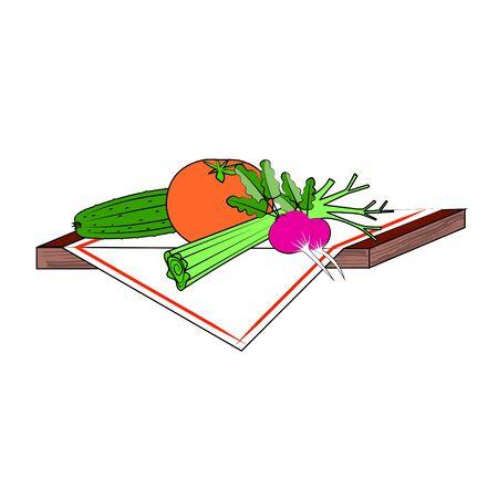 Fresh vegetables on a textile napkin