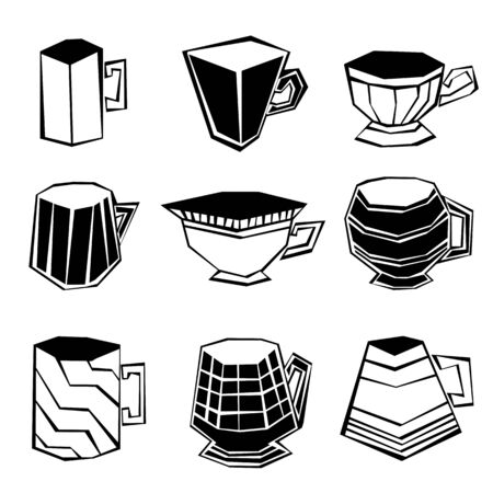 set of cups in black and white. suitable for any background