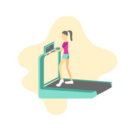 cartoon running treadmill and running girl