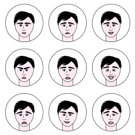 emotions of a man in a cartoon style with a black stroke