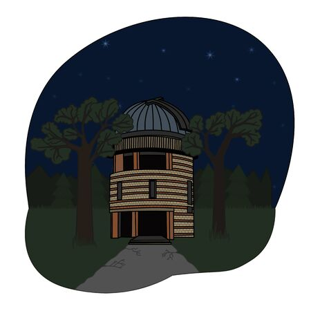 cartoon astrograph and telescope tower at the observatory. Иллюстрация