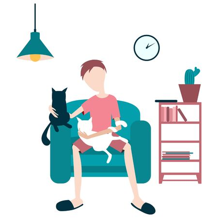 Concept man in a chair with two cats Иллюстрация