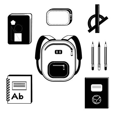a set about going to school - a backpack, books and notebooks in black and white