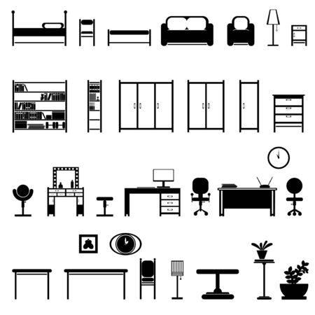 set of furniture b interior items 2d in black and white. all objects are isolated curves. interior items can be easily removed