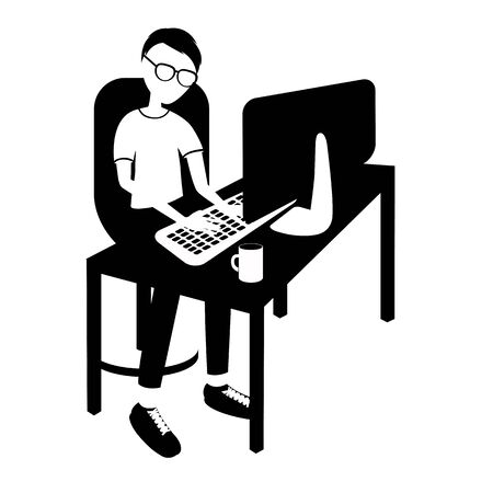 programmer at the table and monoblock. Isolated objects without stroke. black and white