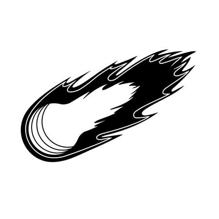 Comet in black and white in the style of hand drawn graphics