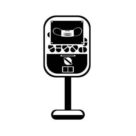 automatic machine selling disposable masks. black and white color Ilustración de vector