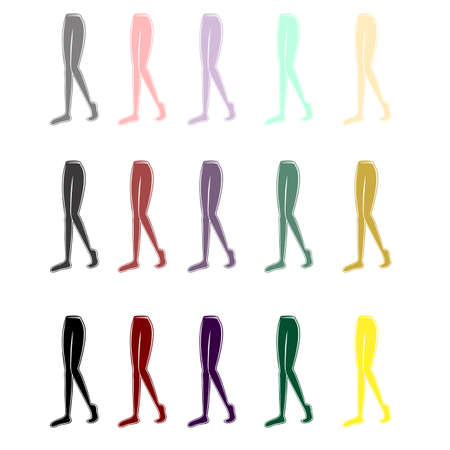 tights of different colors on female legs 向量圖像