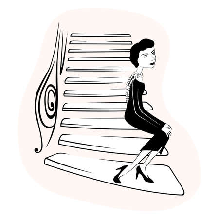 The stairs of a fashion house at 31 rue cambon. hand drawn style black and white