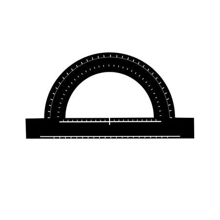 protractor in black color in a flat style
