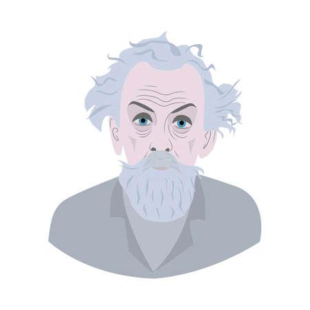 portrait of Konstantin Tsiolkovsky. Cartoon style beard grandfather. vector isolated outlines