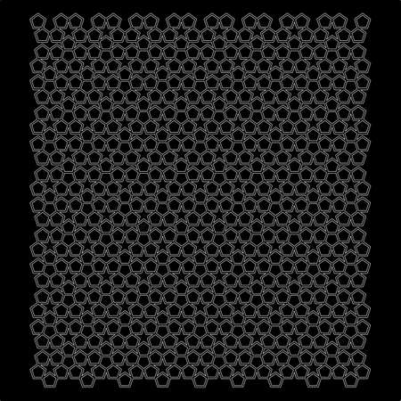 mosaic of penrose pentagons in black and white. vector.