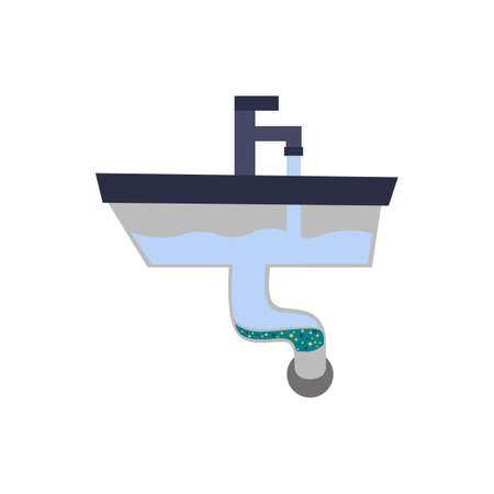 a blockage in the kitchen sink. flat vector Иллюстрация