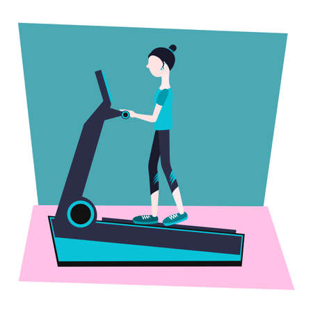 treadmill in the gym with a woman. vector flat Illustration