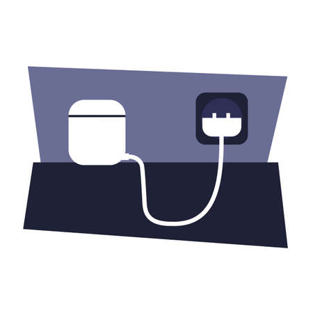 headphones in a charging case. isolated vector