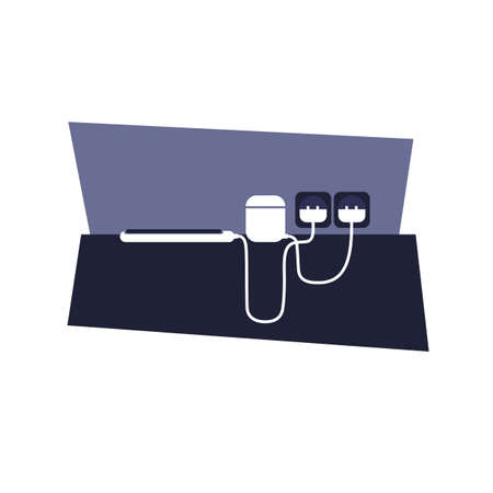 smartphone and headphones on charging. flat vector
