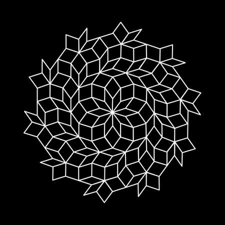 pattern parquet and penrose mosaics. black vector