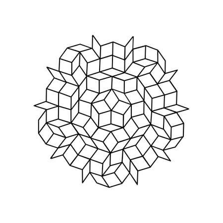 pattern parquet and penrose mosaics. black vector