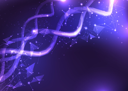 Illustration of a DNA molecule. Molecule background. Stock Illustratie