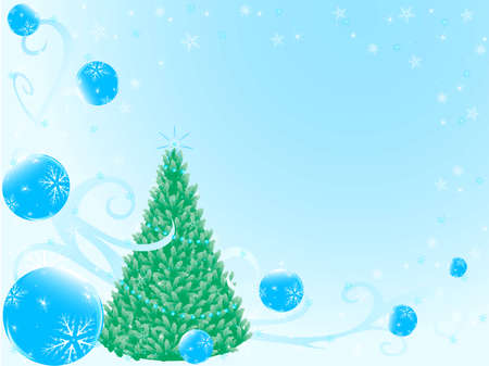 New years fir tree on background fir tree balls and stars Vector