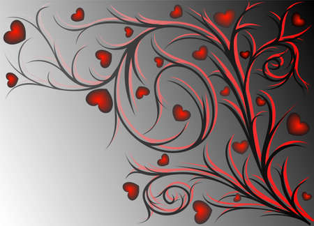 keyline: Red and black vegetative pattern with hearts on gradient background