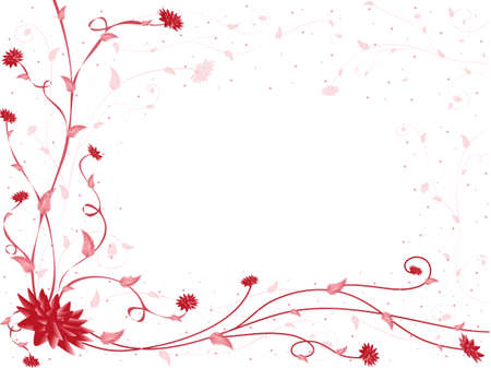 copy: Red and pink flowers and branches on white background