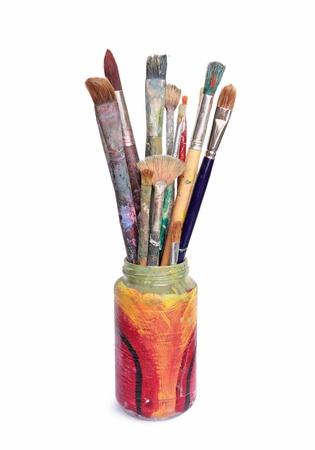 brocha de pintura: Usados ??bellas artes en un frasco de vidrio pintado a mano