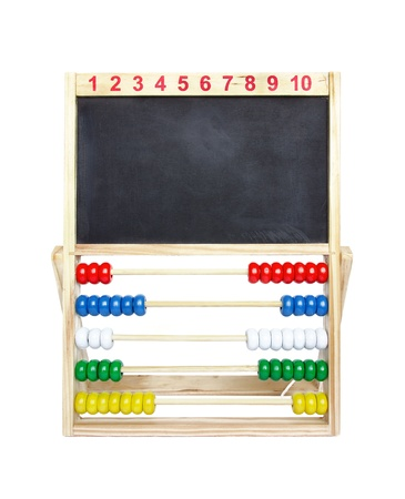Wooden toy abacus with blank blackboard on a white background. photo