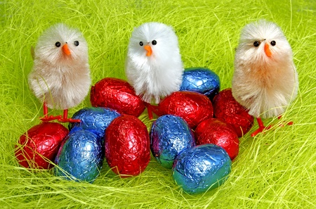 Easter decoration with chocolate eggs and chicks. photo