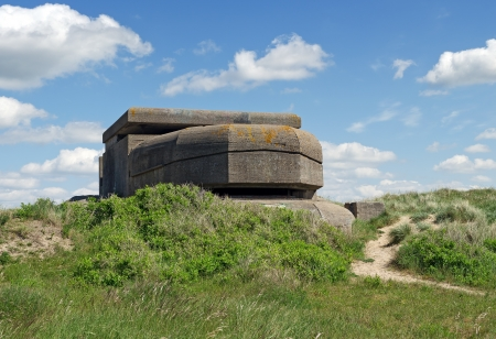 allied: Remains of a Dutch bunker of World War II at IJmuiden, the Netherlands, in the dunes.