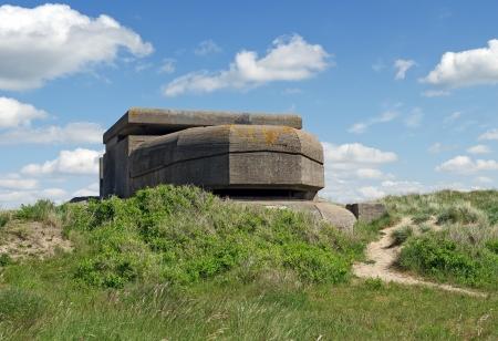 ijmuiden: Remains of a Dutch bunker of World War II at IJmuiden, the Netherlands, in the dunes.