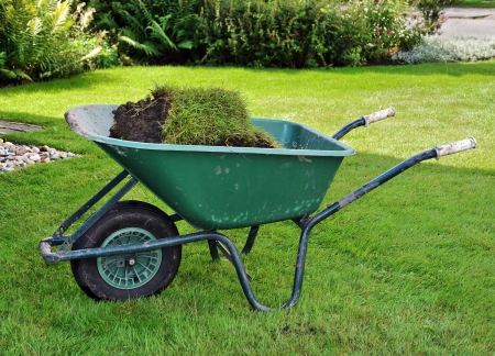 barrow: A wheelbarrow full of turf in the garden. Stock Photo