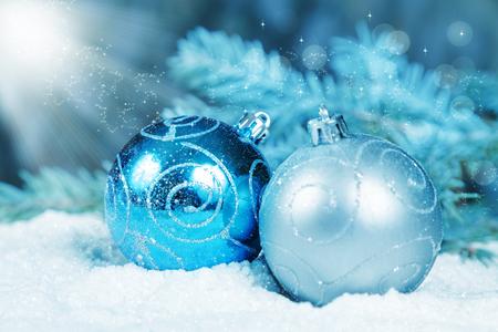 Christmas decorations in the snow illuminated light magic Stock Photo