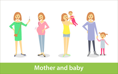 Pregnant woman and woman with newborn baby, mother and baby. Vector characters in cartoon style Illusztráció