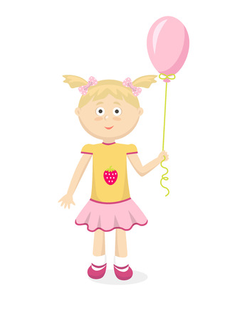 yellow dress: Little girl in yellow dress with pink balloon. Cartoon style