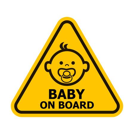silhouette voiture: Bébé à bord panneau jaune. Vector illustration. Illustration
