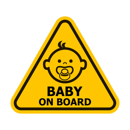 Baby on board yellow sign. Vector illustration.